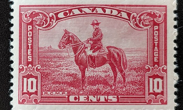 Canada #223ii F/VF Mint HR 1915 10c Broken Leg variety