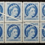 Canada #341 F/VF Never Hinged 1954 5c Pre Printing Crease Block