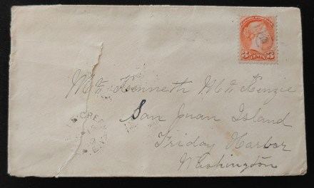 Kenneth Mckenzie 1892 3c SQ Cover and contents to Friday Harbour