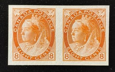 Canada #82ii VF Unused 1898 8c QV Numeral Imperforate Pair