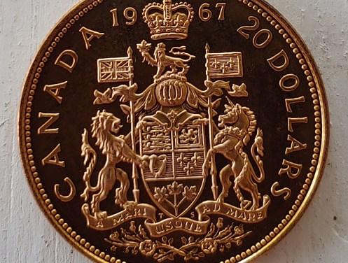 Canada BU 1967 Centennial 1/2oz Gold 20 Dollars .5287oz AGW