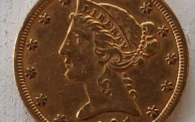 U.S.A./Colonial Canada XF 1901S Gold 5 Dollars .24187oz AGW