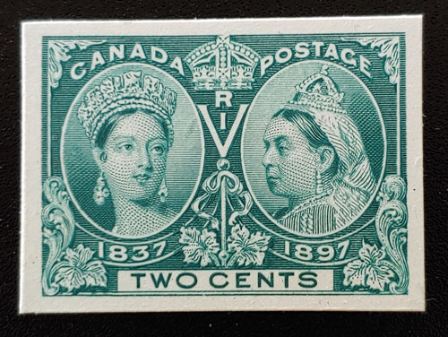 Canada #52P VF 1897 2c Jubilee Plate Proof on card