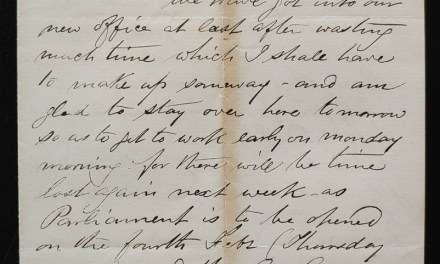 Ottawa, Jan 30th 1875, Marcus Smith letter to his wife about Sandford Fleming