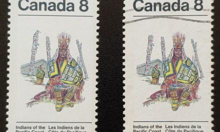 Canada #572ii Used 1974 8c Missing Bird on Totem