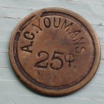 B.C. Amos Card Youmans circa 1800 uniface 25 Cents Copper Token