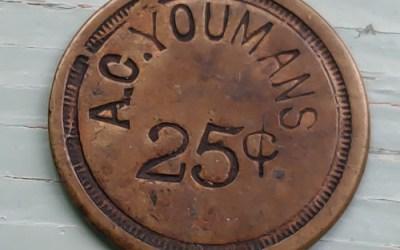 B.C. Amos Card Youmans circa 1800 uniface 25 Cents Copper Token