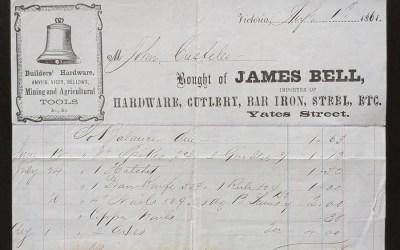 Victoria, V.I. 1 Au 1861 James Bell Mining Tools invoice, ex Wellburn
