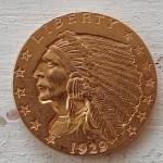 U.S.A. XF 1929 last Indian Head Gold $2.50 Quarter Eagle .12094oz