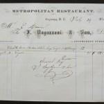 Victoria, B.C. 29 Jl 1876 Metropolitan Restaurant invoice, ex Wellburn