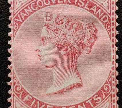 Vancouver Island #5 Fine Used 1865 5c Rose, sml flaws