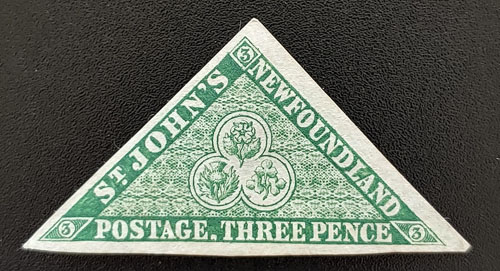 Newfoundland #3 F/VF Unused 1857 3d Triangle