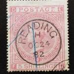 G.B. #57 Fine 1882 Reading CDS Used 5/- Plate 2, corner flt