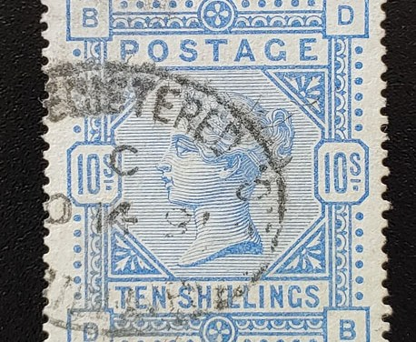 G.B. #149 VF Used 10/- Queen Victoria