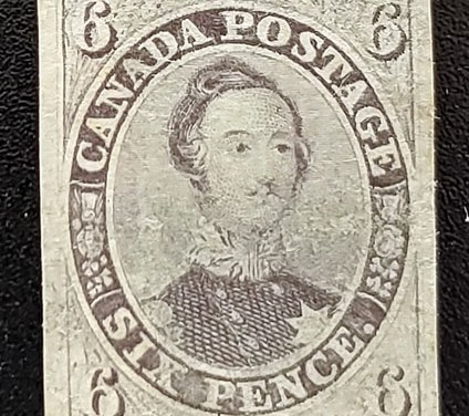 Canada #10 VF Used 1857 6d Thick Soft Paper, tiny tear