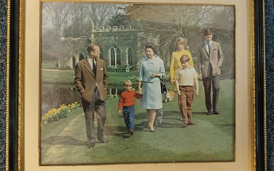 Queen Elizabeth II & Prince Philip signed 1968 family card