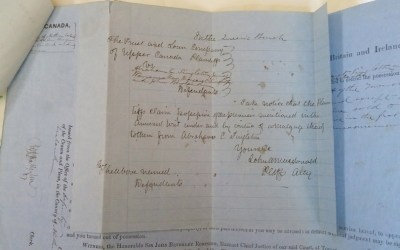 John A. Macdonald signed 1858 3-part Ejectment Summons