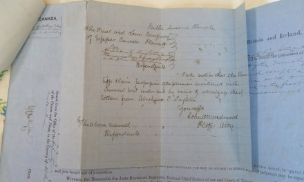 John A. Macdonald signed 1858 3-part Ejectment Summons