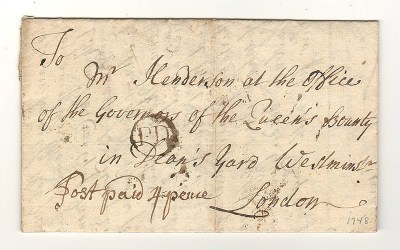 G.B. 20 Feb 1748 Four Pence Paid Stampless F.L.S