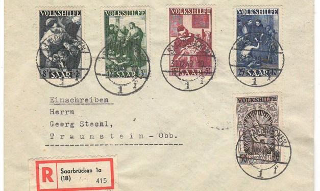 Saar #B69-B83 31 Dec 1949 Set on Registered Cover (5)