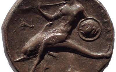 Tarentum 302-290 BC Taras on Dolphin Silver Nomos