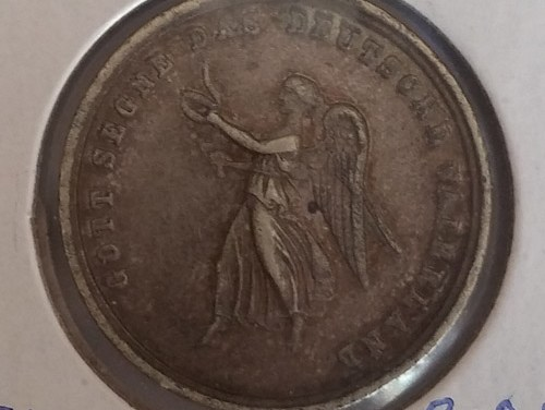 Germany 19th Century dime-sized Silver Token with Victory