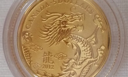 189	Canada BU 2012 .9999 Fine 1/10oz Gold Year of the Dragon $5