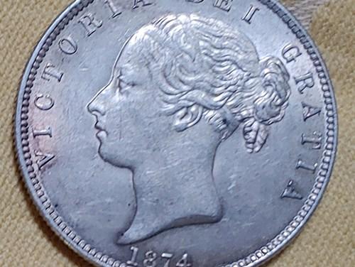 G.B. 1874 Victoria Silver Half Crown lt