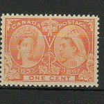Canada #51i XFNH 1897 1c Yellow Orange QV Jubilee