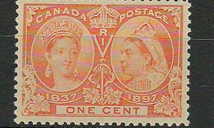 Canada #51i XFNH 1897 1c Yellow Orange QV Jubilee