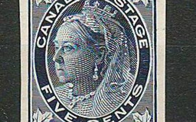 Canada #70P VF 1897 5c Plate Proof, only 300 produced