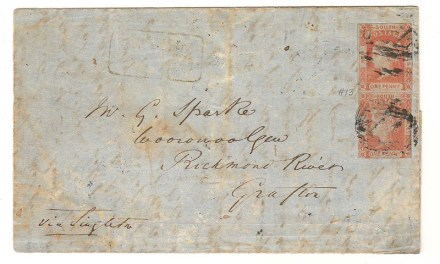 New South Wales #13 7 Dec 1853 1d Pair on FLS to Grafton