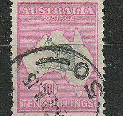 Australia #13 VF Used 1913 10/- Pink & Gray Roo
