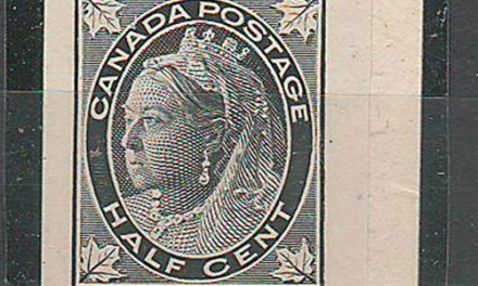 Canada #66P XF 1897 Right Margin 1/2c Black Plate Proof