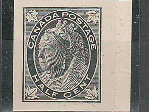 Canada #66P XF 1897 Right Margin 1/2c Black Plate Proof