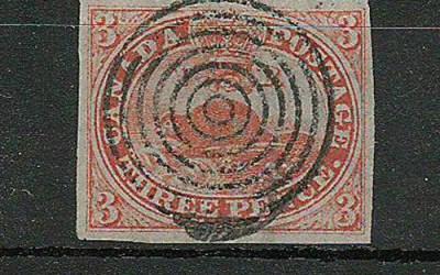 Canada #1a 1851 3d Beaver Orange Red Laid Paper
