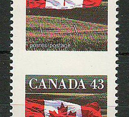 Canada #1359f 1994 43c Flag Perf by Imperf Pair