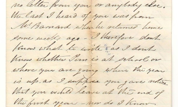 Victoria, B.C. 26 March 1873 Marcus Smith 4 sides letter to his wife