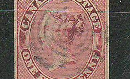 Canada #8i VF Used 1857 1/2d Lilac Rose Shade