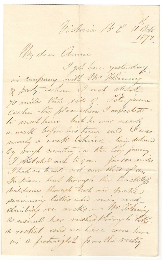 Page 1 of Marcus Smith letter to Annie