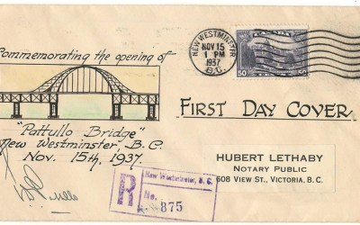 Pattullo Bridge Opening 15 Nov 1937 50c cacheted, Signed Cover