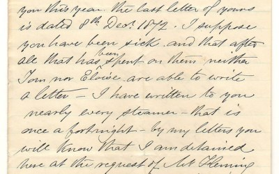 Victoria, V.I. 27 Feb 1873 4-sides Marcus Smith letter to his wife