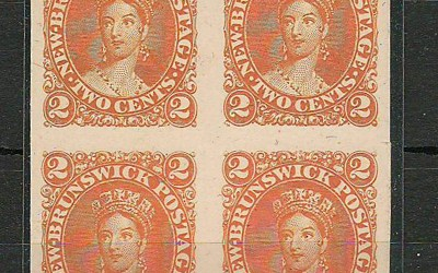 New Brunswick #7Pi 1863 2c Orange Plate Proof Block