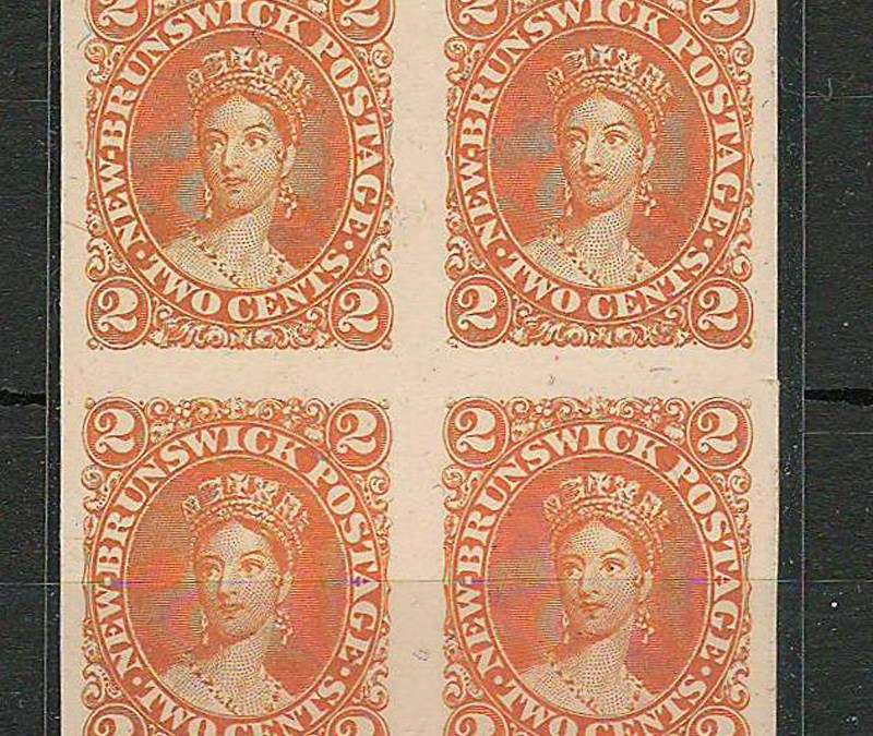 New Brunswick #7Pi 1863 2c Orange Plate Proof Block