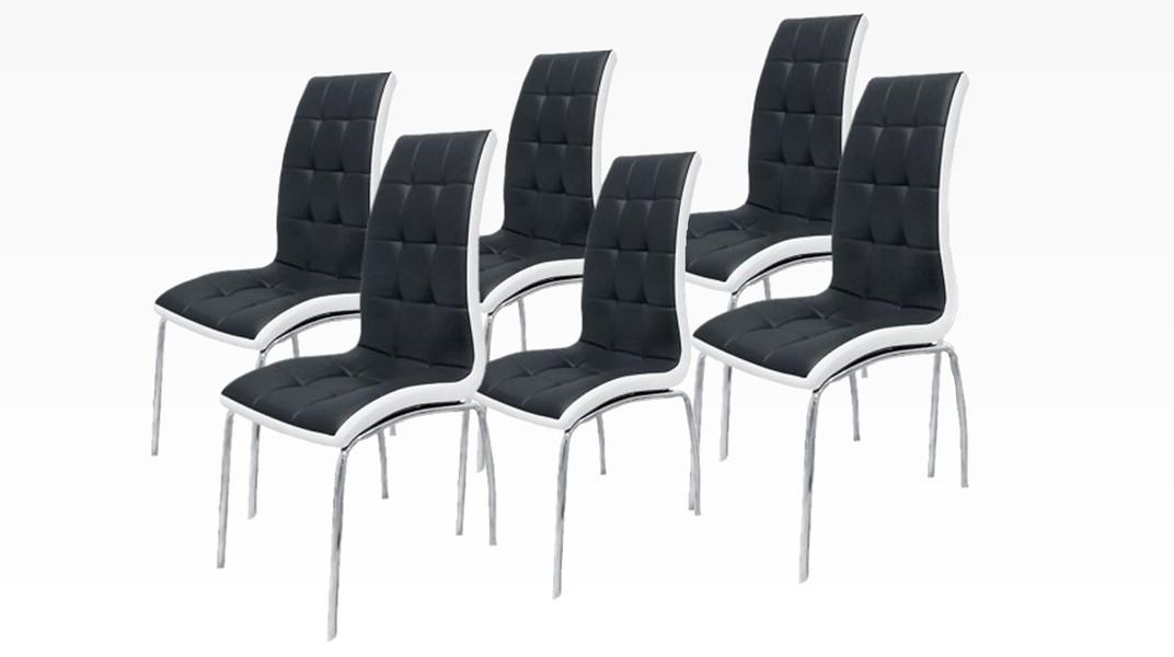 delphia lot de 6 chaises noir et blanc