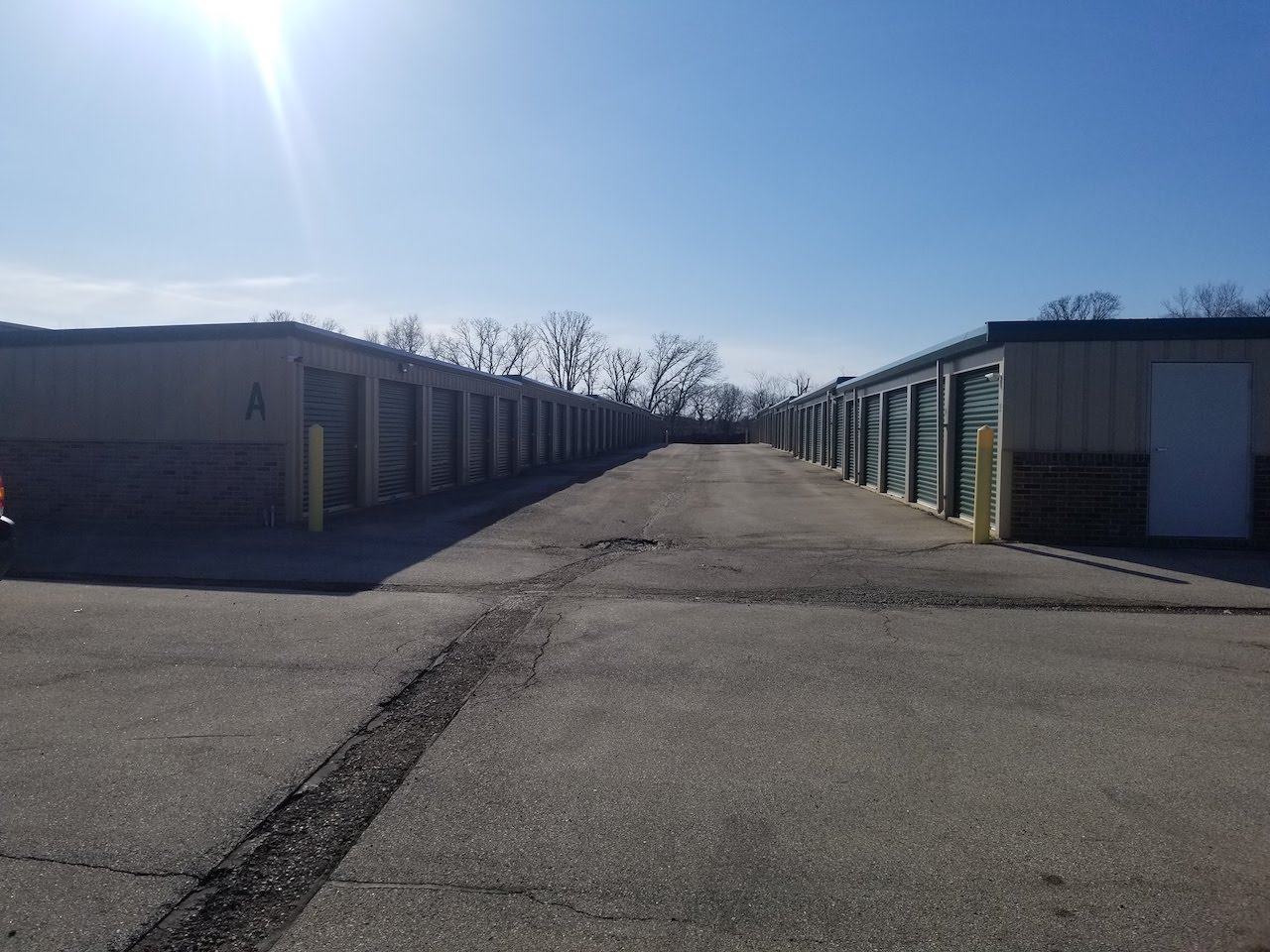 View down a row of units