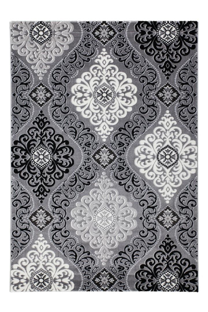 tapis argente style baroque brillant pour salon sencha