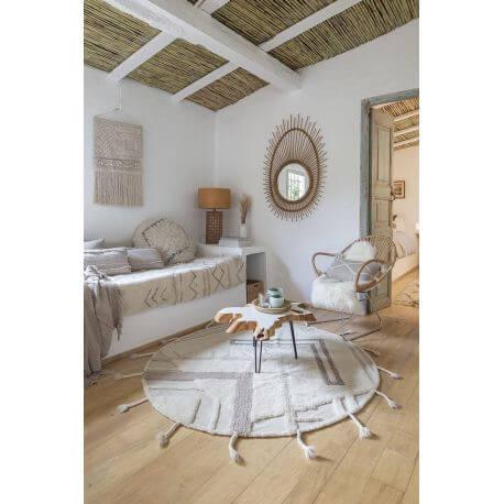 tapis rond avec franges en laine