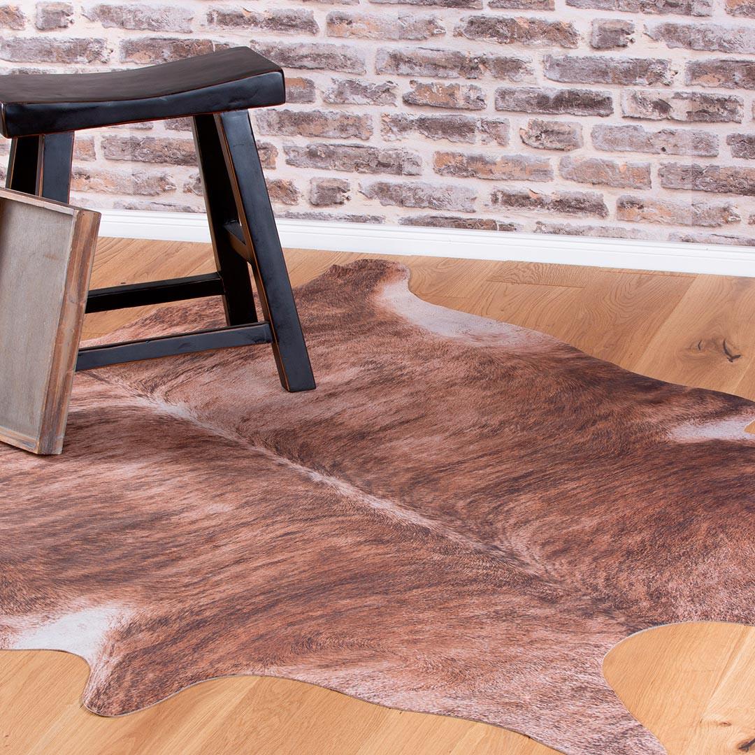 tapis imitation peau de vache marron