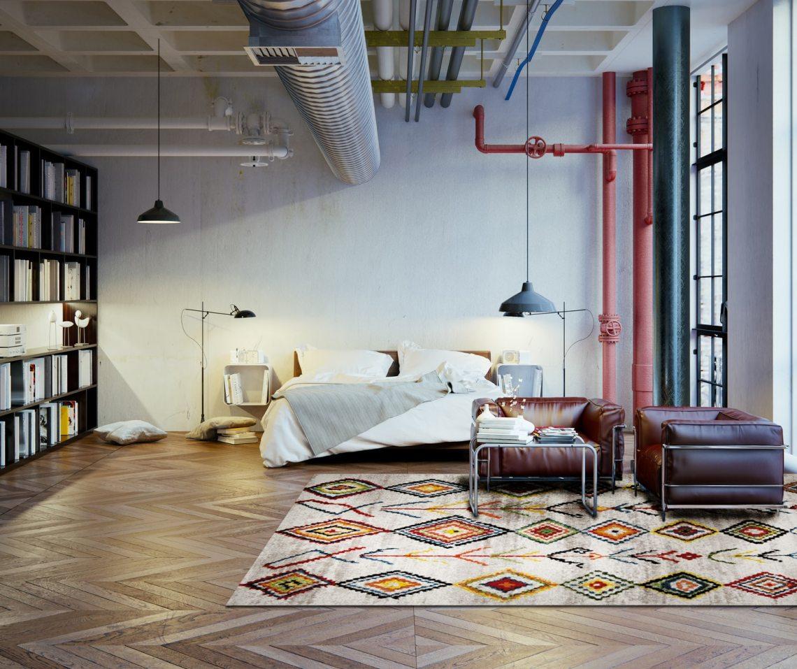 tapis de chambre multicolore